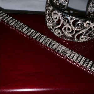 Jewelry - Two sterling silver bracelets with genuine dia.